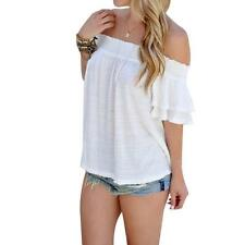 Women Ladies White Blouse Tops Sexy Off Shoulder Beach Loose Casual Shirt Summer