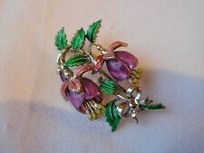 Pretty Vintage 1950s Colourful Enamel FUSCIA Brooch by EXQUISITE