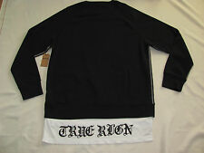 True Religion Pullover Sweatshirt with T Shirt Tails -Black Men's 3XL- NWT-$169