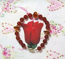 "Carnelian & Amber With 14K GF Hand Knotted Bracelet. 8mm Beads. 7"". CAR002"