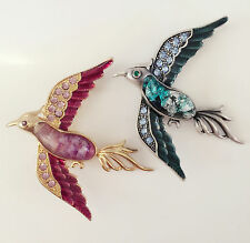New 2 Pcs Twin Gold Antique Style Crystal Money Lucky Birds Brooch Pin BR1323&24