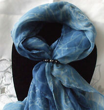 Scarf + Scarf Ring Gift Set Indigo Blue / Grey Flower + Black & Silver Ring