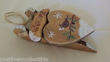 """Estate Hand Painted Wood Sled Heart Cardinal WELCOME Christmas Ornament 6"""""""