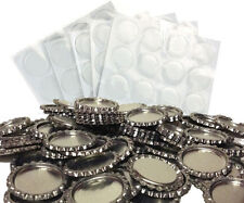 Pack of 100 Flat Chrome Bottle Caps Craft and 100 Epoxy Clear Resin Domes #94