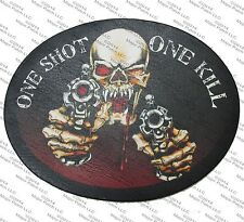LEATHER PATCH ONE SHOT 1 KILL EVIL SKELETON SKULL SHOOTER MOTORCYCLE BIKER VEST