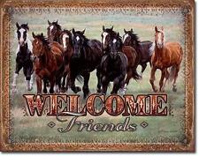 Pferde Freunde Willkommen Metall Deko Schild Plakat