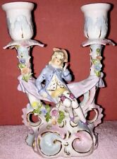 Antique Duel Porcelain CANDLEHOLDER W Figurine Pastels Germany Shabby Chic Decor