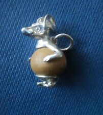 Sterling Silver touch Wood Fob Charm  -  MOUSE