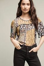 NWT SZ S $118 ANTHROPOLOGIE DEKA TOP BY WESTON SHIRT BLOUSE RAYON THIN FLORAL