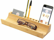 Bamboo U-Shaped Desk Organiser Phone Holder