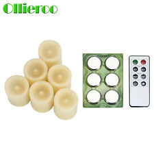 Ollieroo 6 LED Flameless Votive Candle with Remote & Timer & Battery Ivory Hot !