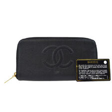 Auth CHANEL CC Long Zipper Bifold Wallet Purse Caviar Skin Leather Black 61P789