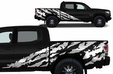 Custom Vinyl Decal SHRED Wrap for 4D ShortBed 16-17 Toyota Tacoma TRD Flat White