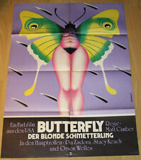 STACY KEACH & ORSON WELLES & PIA ZADORA - BUTTERFLY * RARE GERMAN ORIG POSTER!
