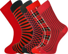 5 Paia di Calzini da uomo selezione di colore rosso con scatola regalo 7-11