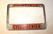 Fairfield Cycle Centre Motorcycle Dealership Single License Plate Frame Metal
