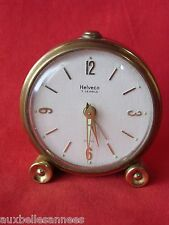 ANCIEN REVEIL MECANIQUE HELVECO SWISS MADE 7 JEWELS / HORLOGE PENDULE OLD CLOCK