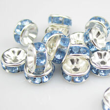 NEW 20pcs 8MM Plated silver crystal spacer beads Findings B&15 FREE SHIPPING