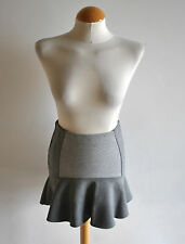 Ladies Bershka Grey Panel Contour Drop Waist Frilly Hem Mini Skirt Casual Size 8