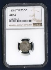 STRAITS SETTLEMENTS VICTORIA 1898 5 CENTS SILVER COIN, CERTIFIED NGC AU-50