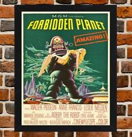 Framed Forbidden Planet Movie Poster A4 / A3 Size In Black / White Frame