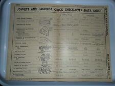 JOWETT JAVELIN & LAGONDA LG.6 V12 ORIGINAL DATA SHEET 1938 - 1948