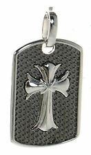 Men's Solid 925 Sterling Silver Cross Dog Tag Pendant  '