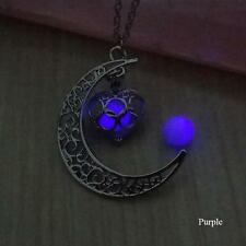 Crescent Moon Heart Glow in the Dark Necklace Jewelry Luminous Chain