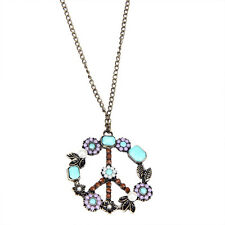lange Halskette Peace Peacezeichen Kette Anhänger Steine Bunt BOHO Gold NEU 108