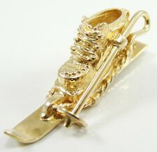 "14K Yellow Gold Skiing Boot Pole Charm Pendant 1 1/4"" 3 D"