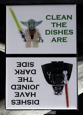 CLEAN / DIRTY Star Wars LEGOs - Dishwasher Magnet. Yoda Vader LEGO MiniFigure