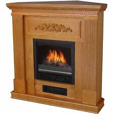 Corner Electric Fireplace Heater Oak Mantle Realistic Flame Adjustable Classic