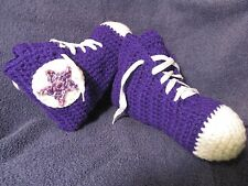 Crochet High Top Sneaker Slippers/Socks in Teen or Women in Purple- Handmade