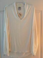 NEW Haute Hippie V-Neck Blouse Long Split-Sleeves $125 Size Large 100% Modal