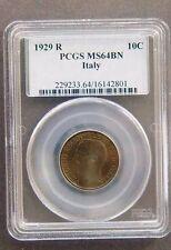 1929-R 10 CENTESIMI EMANUEL III ITALY PCGS MS64BN COIN