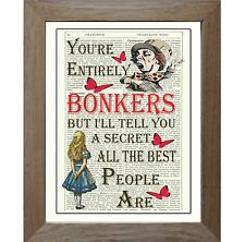 Art Print Bonkers Red Alice in Wonderland Antique Book Page Lewis Carroll Gift