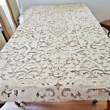 ANTIQUE CUTWORK AND EMBROIDERY LACE BANQUET TABLECLOTH