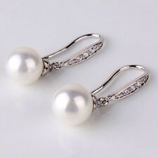 Wedding 18K white gold filled pearl& white sapphire charming dangle earring