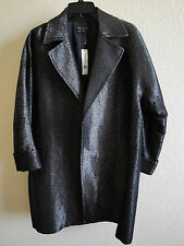 *NWT* Theory Clarania Black Metallic Threaded Wool Blend Coat - MED - MSRP $490