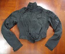 Antique Victorian Top black silk crepe lace high collar mourning