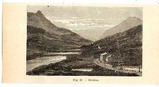 Stampa antica PASSO DEL BERNINA montagna Grigioni Svizzera 1910 Old print