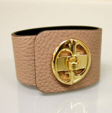 "$550 NEW Authentic GUCCI ""1973"" Leather Bracelet Bangle w/Gold G,17,Beige,253514"