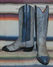 Mens Vintage Texas Imperial Gray Leather Cowboy Boots 8 D New In Box