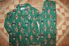 NWT Gymboree Gymmies Size 7-8 Green Fleece Sock Monkey Holiday Pajamas