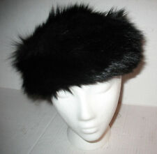 Womens Vintage Authentic Black Mink Fur Pill Hat, Mint