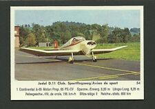 Jodel D11 Club Sport Vintage 1960 Airplane Plane Aviation Card #54
