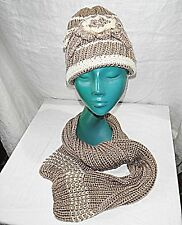 HAND KNIT FROM FRENCH CRAFT MARKET BEANIE ADORNED HAT MATCHING NARROW SCARF