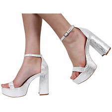 NEW WOMENS LADIES BLOCK HIGH HEEL ANKLE STRAP PEEPTOE SANDALS SHOES SIZE SIZE 3-