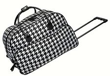 "BRAND NWT Black/White Houndstooth Rolling Trolley Travel Bag w/Handle 21""Lx11""W"