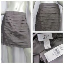 Ann Taylor Loft Skirt 5012 Womens Size 4 Pewter Gray Tiered Silk Above Knee